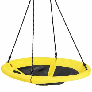 100cm Round Shape Tree Swing with Adjustable Hanging Ropes