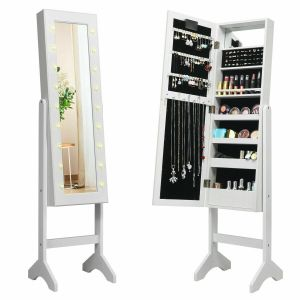 Standing Jewellery Organiser Cabinet with Adjustable Mirror 18 LEDs