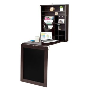 Multi-Function Folding Wall-Mounted Drop-Leaf Table with Chalkboard