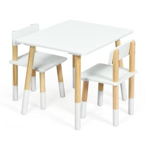 Kid's Wooden Activity Table and 2 Chairs Set