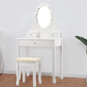 Dressing Table Set with Rose Shaped LED Lights and Cushioned Stool