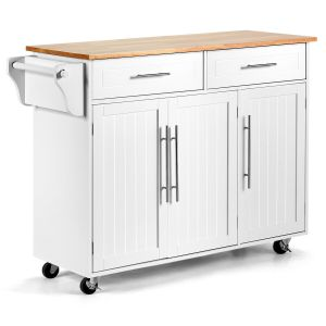 Kitchen Island Trolley with Shelves-White