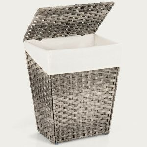 Foldable Handwoven Laundry Hamper with Removable Liner Lid