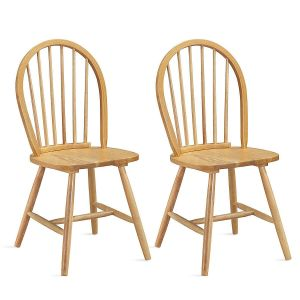 2Pcs Vintage Windsor Dining Chair Set with H-shaped Crossbars