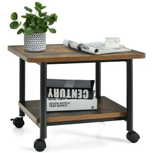 2 Tier Wooden Wheeled Printer Stand / Wheeled Occasional Table