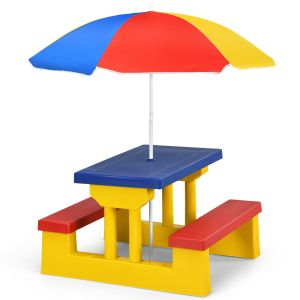 Colourful Children's Picnic Table Set with Removable Umbrella