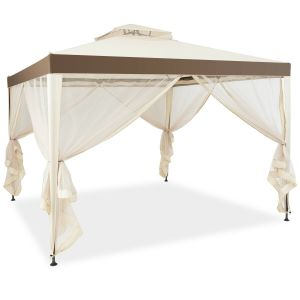 10 x 10ft Double Tiered Canopy Gazebo Garden Shelter Tent