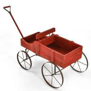 Wood Wagon Decorative Flower Stand with Wheels