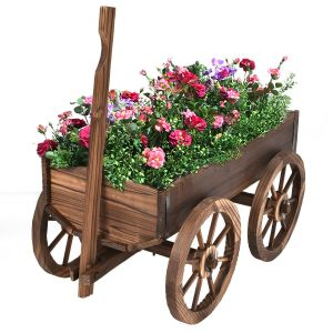 Ornamental Wooden Garden Planter with Drainage Hole