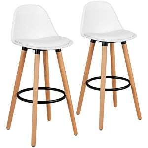 2 x PU White Leather Bar Stool with Footrest