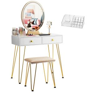 Dressing Table with Vanity Mirror and Stool