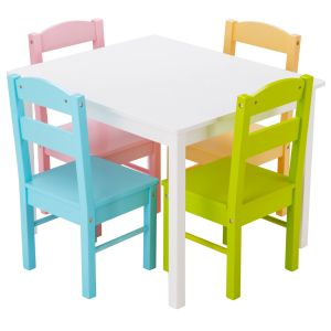 Set of Wooden Multicolour Kids Table and 4 Chairs
