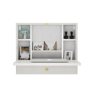 Wall Mounted Wooden Cabinet with Drop Down Desk
