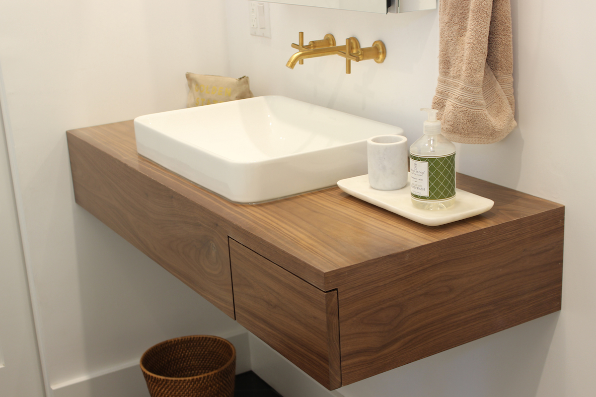 floating bathroom vanity with drawer in