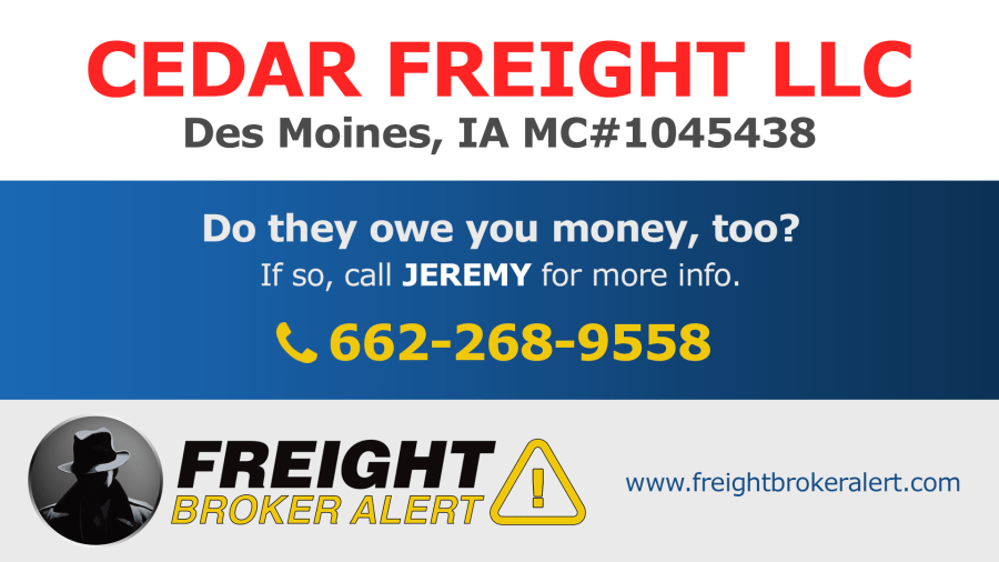 Cedar Freight LLC Iowa