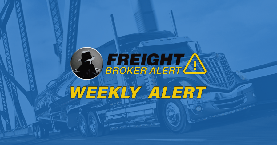 FREIGHT BROKER ALERT WEEKLY NEW DEBTOR ALERT 1-9-19