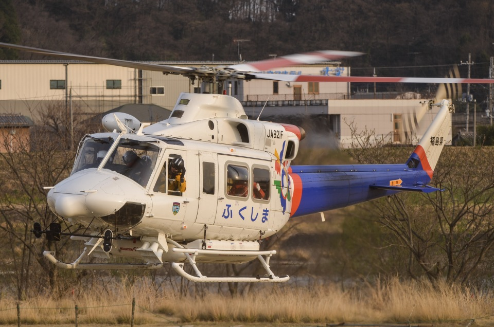 福島県消防防災航空隊 Bell 412 JA821F 足利本町緑地 航空フォト   by ...