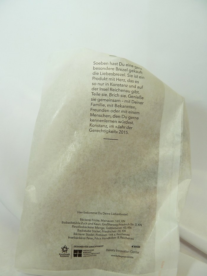 Verpackung der Konstanzer Liebesbrezel