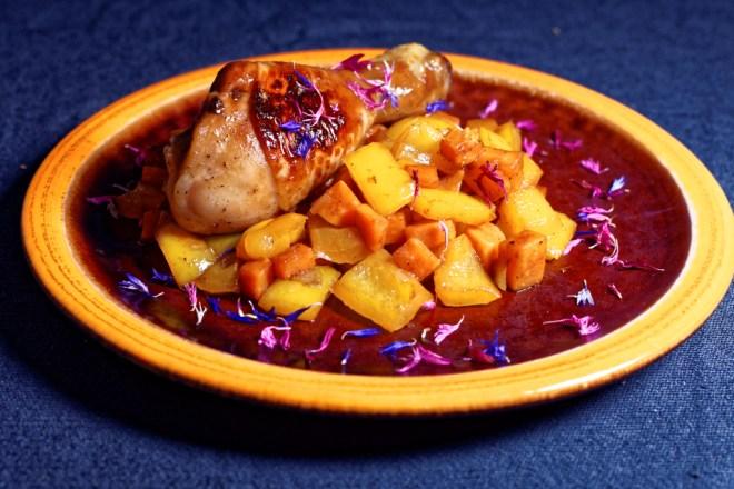 Asiatisches Hähnchen in Soja Chili-Marinade mit Gemüse Ragout