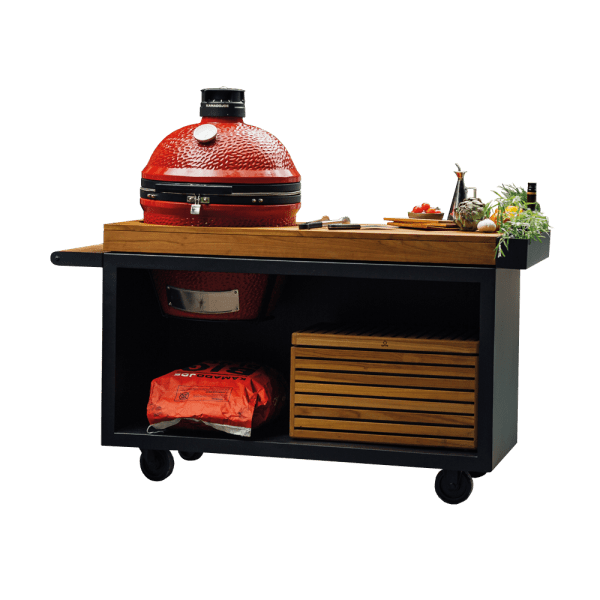 OFYR Kamado Table PRO Black Teak Wood Kamado Joe