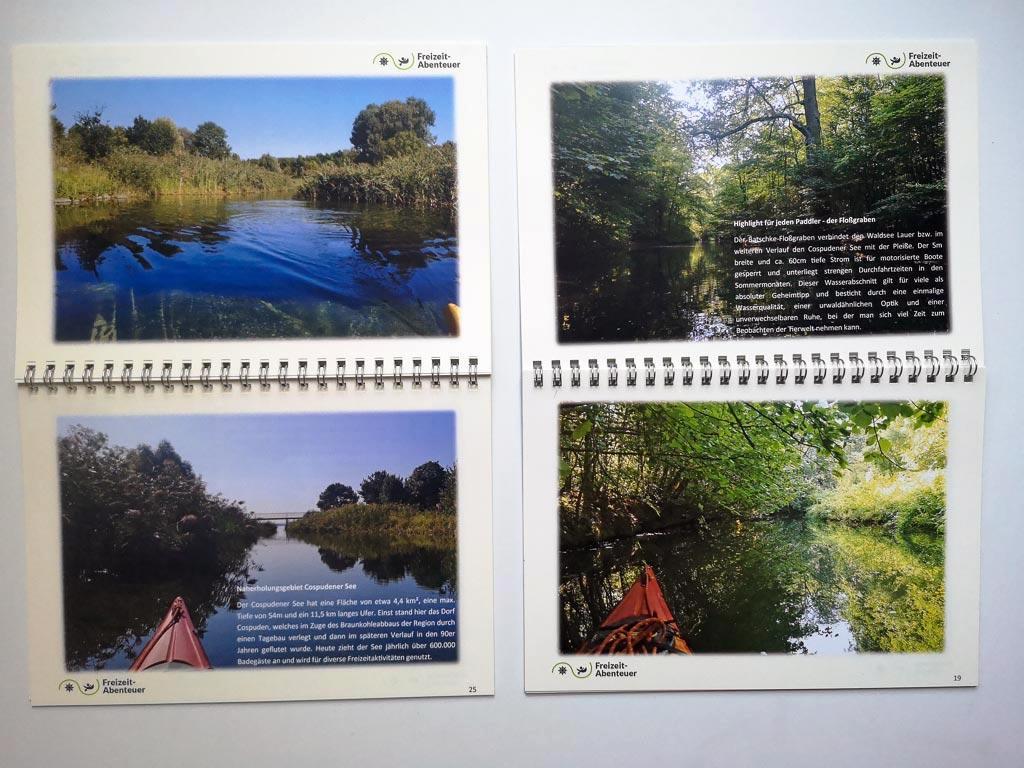 Innenansicht mit vier Fotos des Fotobuches