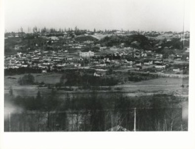 One of the photos that make up the panorama. Taken from the top of Queen Anne Hill. The large light-colored building is Ross Elementary School at 3rd NW and NW 43rd Street. See 3rd NW to the left of the building. The site is now Ross Park and where the school building was located is now a Little League baseball field. Photo courtesy of the U.S. Army Corps of Engineers