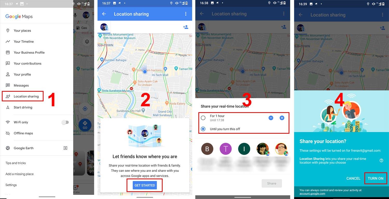 Cara Aktifkan Location Sharing Google (Klik untuk perbesar gambar)