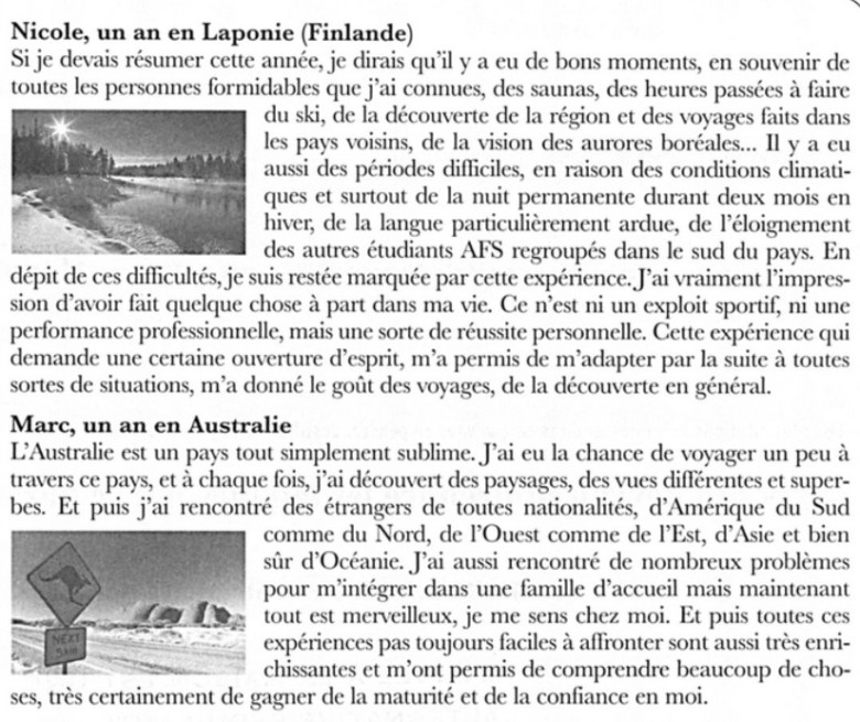 French reading and comprehension exercise
