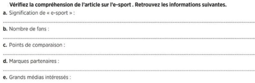 Questions sur esport