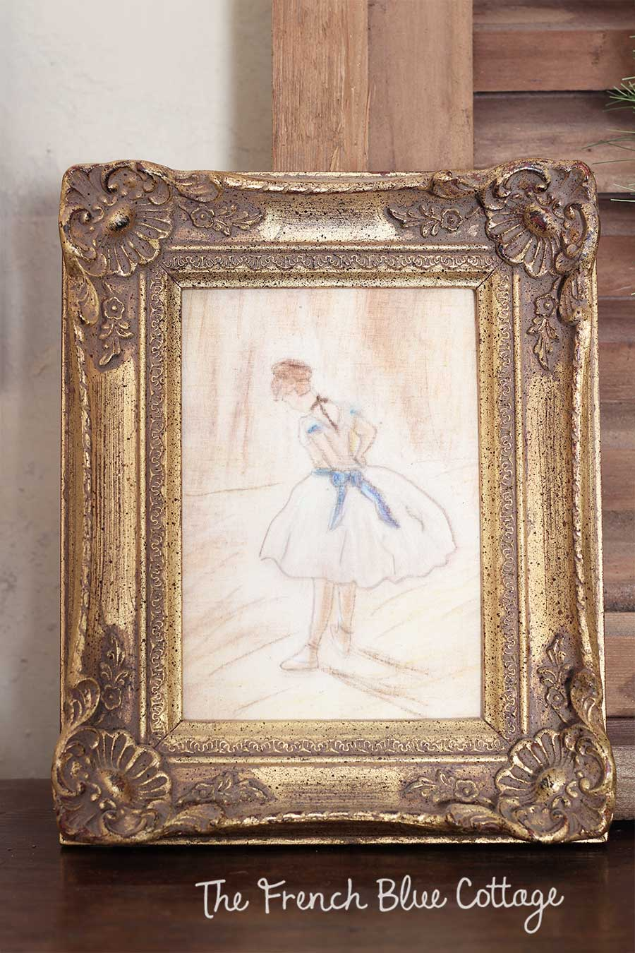 DIY chalk ballerina artwork.