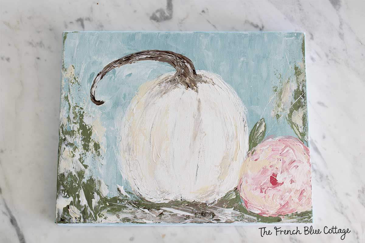 DIY pumpkin artwork - palette knife