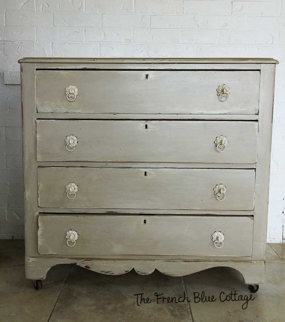 My antiqued dresser after it's been painted and glazed.