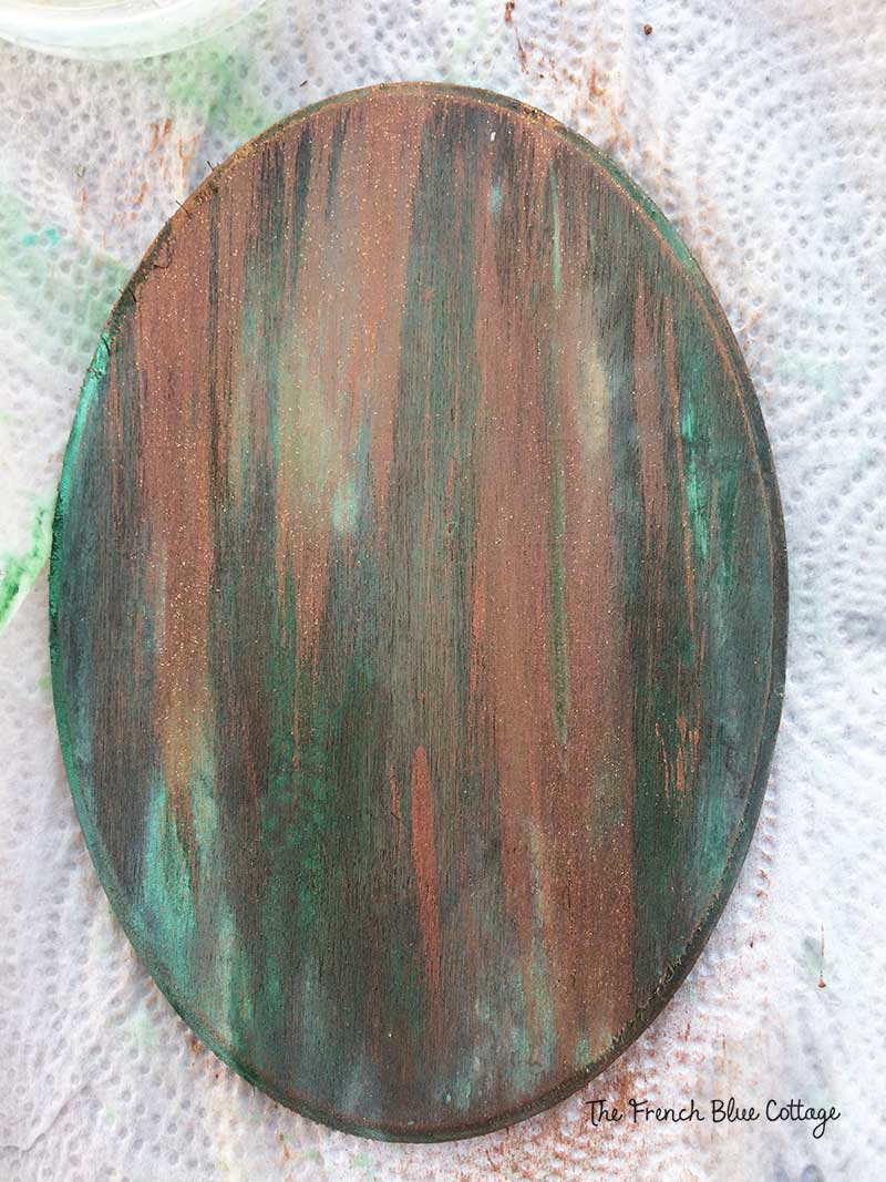 Verdigris finish copper layer.