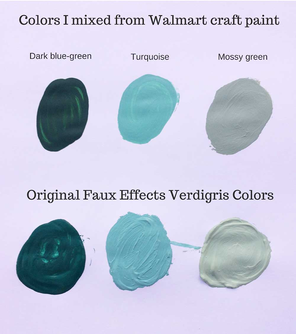 Colors for a verdigris paint finish.