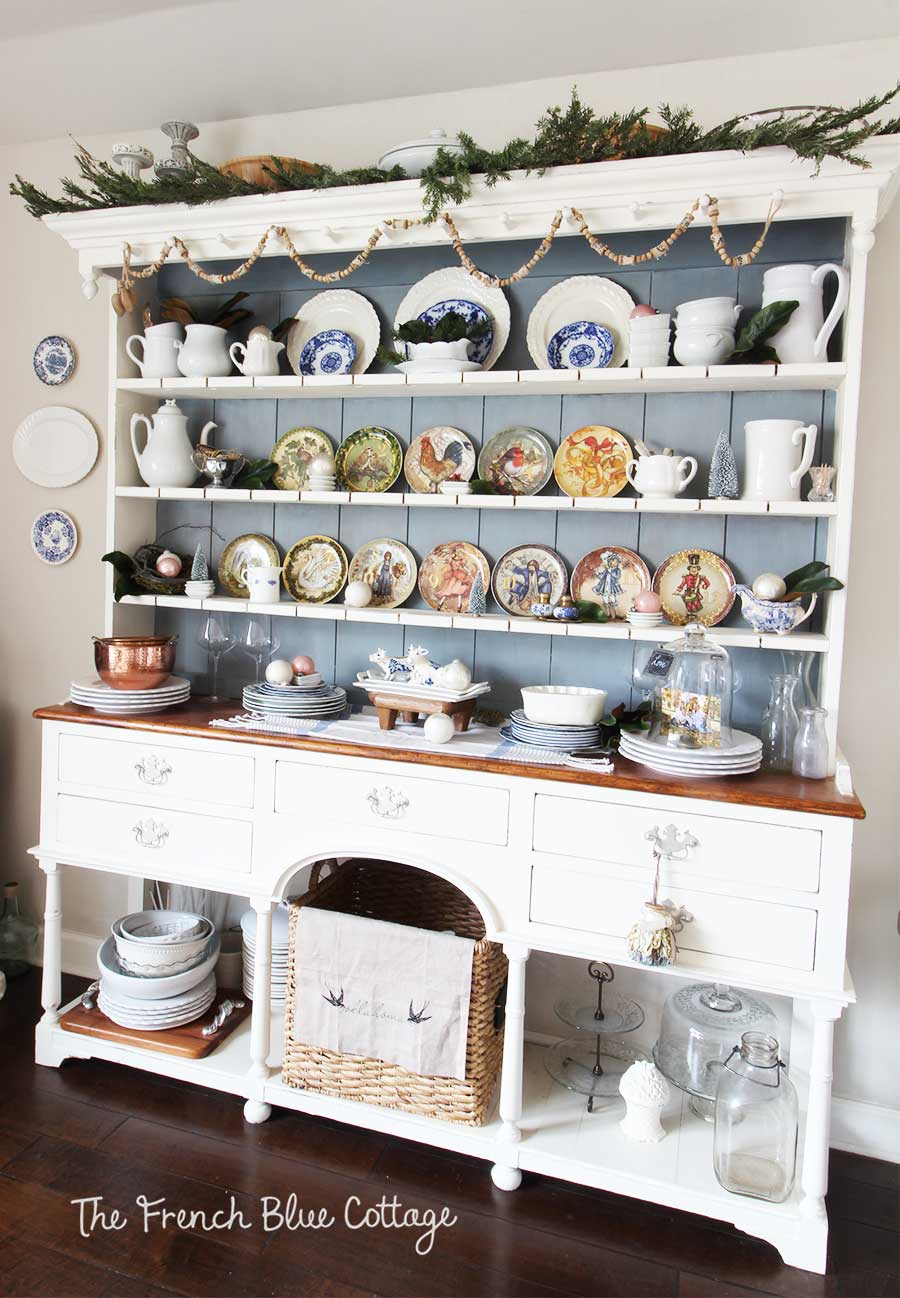 Christmas china cabinet Welsh cupboard in blue and white.