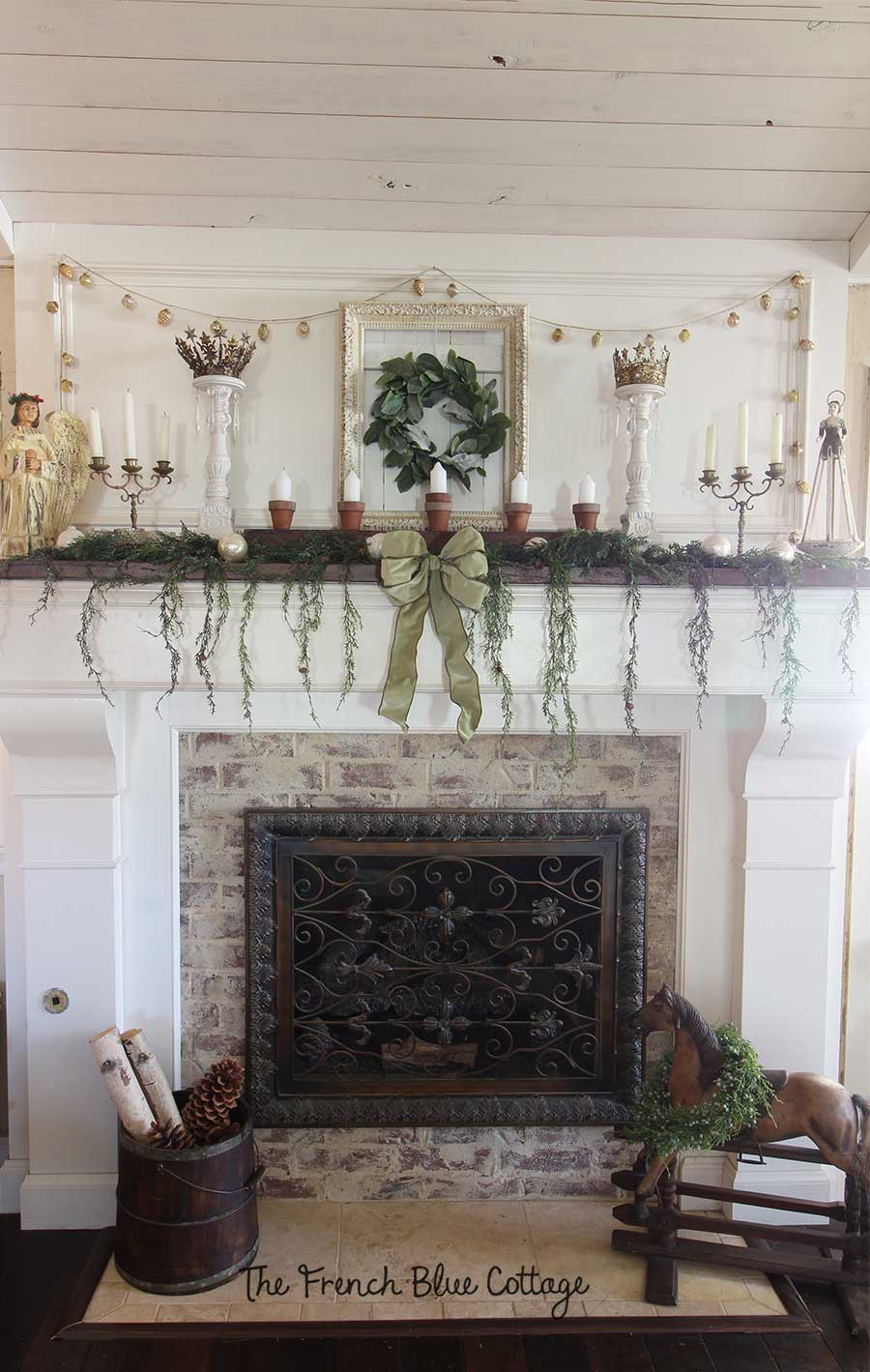 French country Christmas mantel.