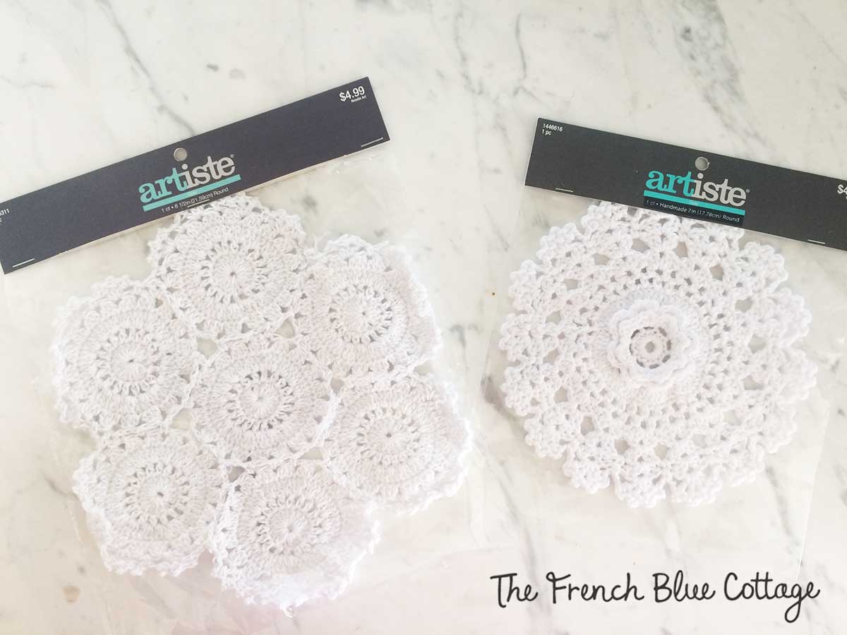 Packaged doilies from Hobby Lobby for crocheted snowflakes.