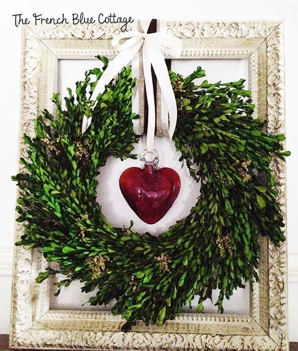 glass heart layered boxwood wreath frame