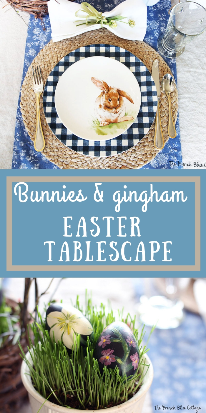 bunnies and gingham table setting