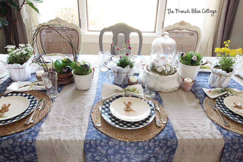 Bunny and gingham tablescape for Easter.