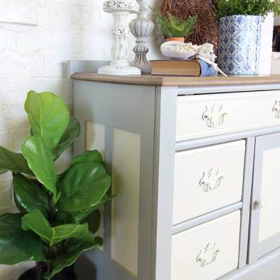 Two-toned vintage washstand makeover