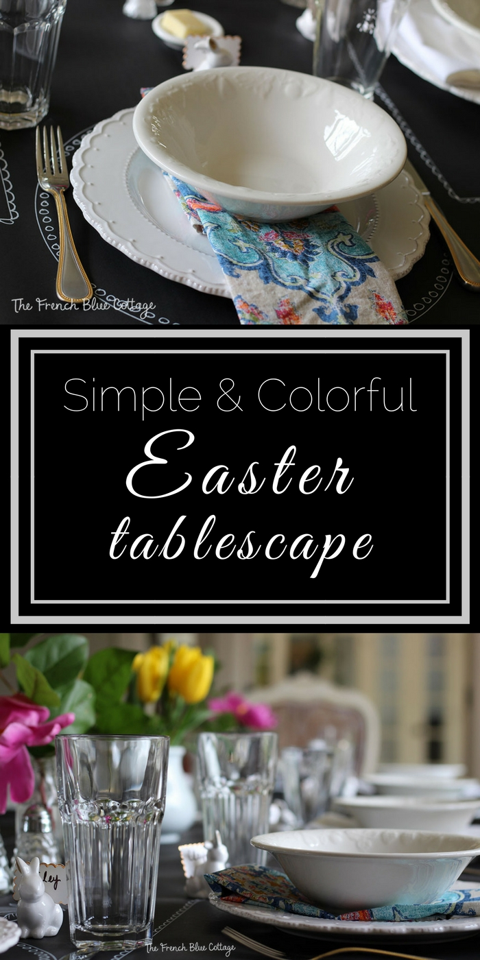 A colorful DIY Easter table with black craft paper, a chalk pen, and grocery store flowers.