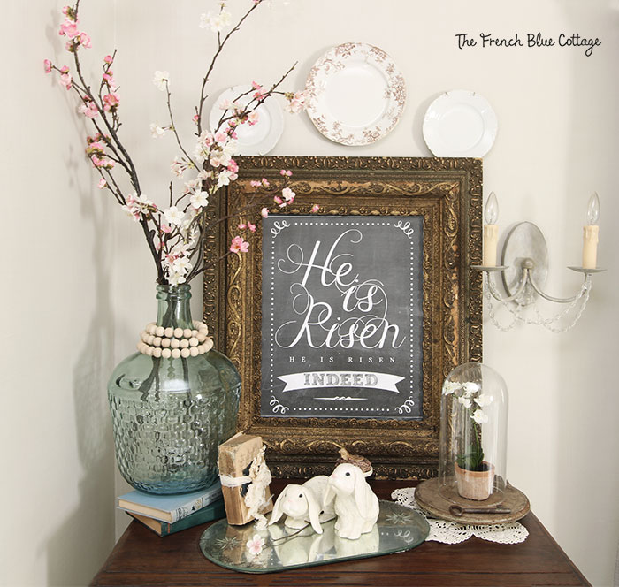 Easter chalkboard and glass jar vignette.