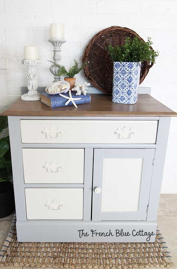 A vintage washstand with a two toned coastal finish.