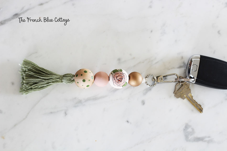 DIY floral wood bead and tassel key ring.