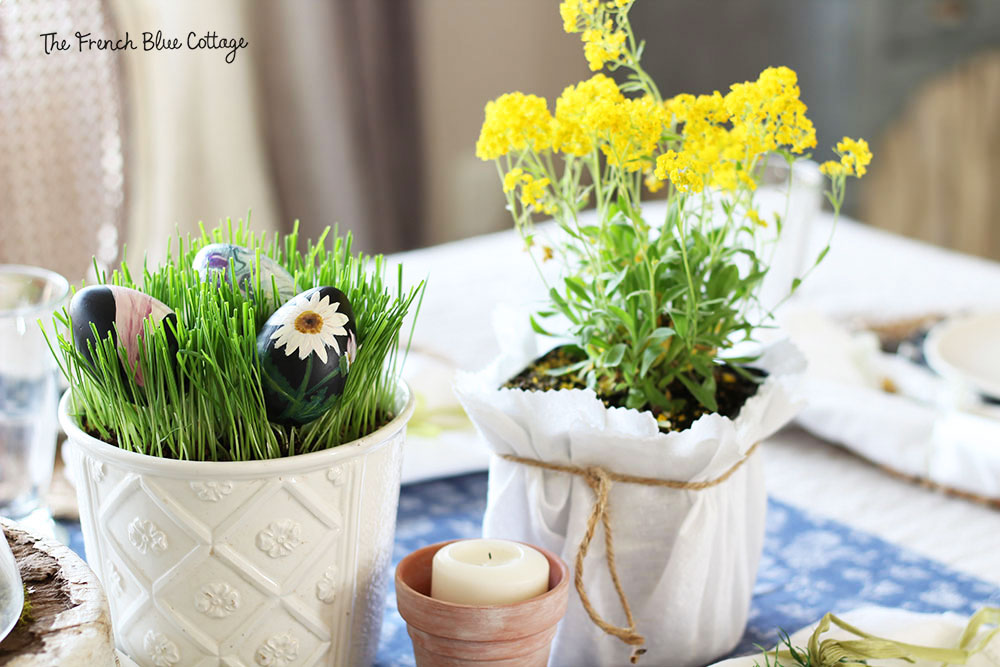 potted flowers Easter table