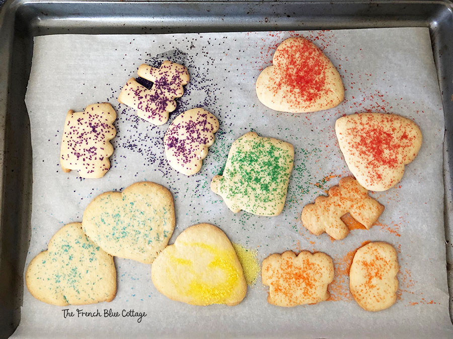 child's colorful sugar cookies