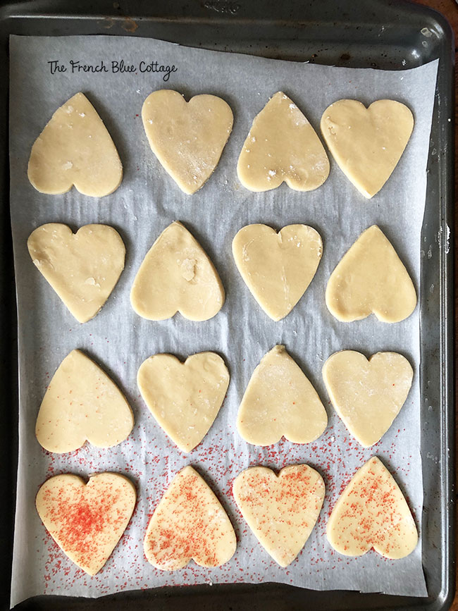pan of heart shaped Valentine's day sugar cookies