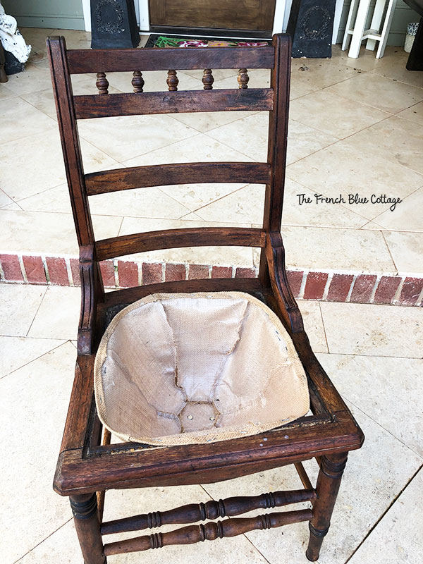 old chair with burlap liner