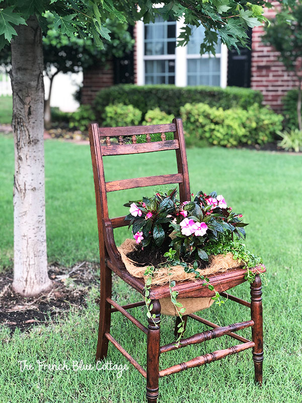 wood chair with flowers planted in seat